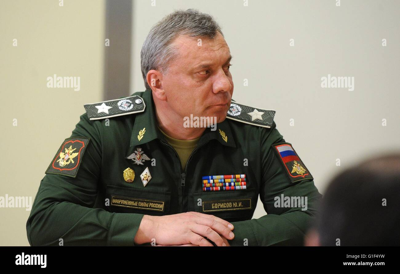 Russian Deputy Defence Minister Yury Borisov during a meeting with President Vladimir Putin at the Bocharov Ruchei - Stock Image