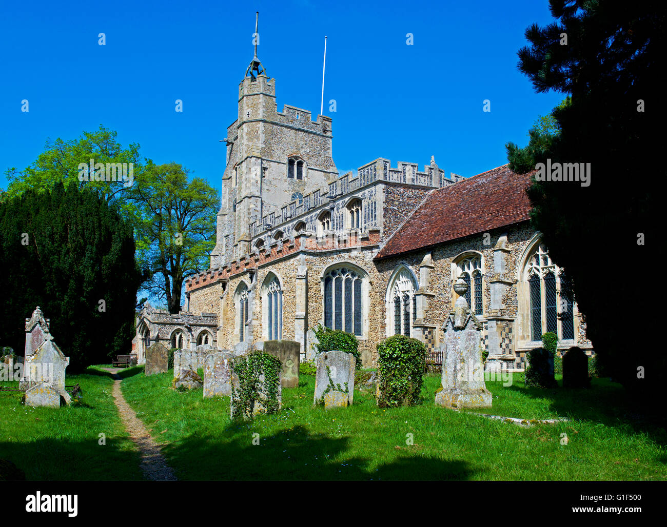 St Mary's Church, in the village of Cavendish, Suffolk, England UK - Stock Image