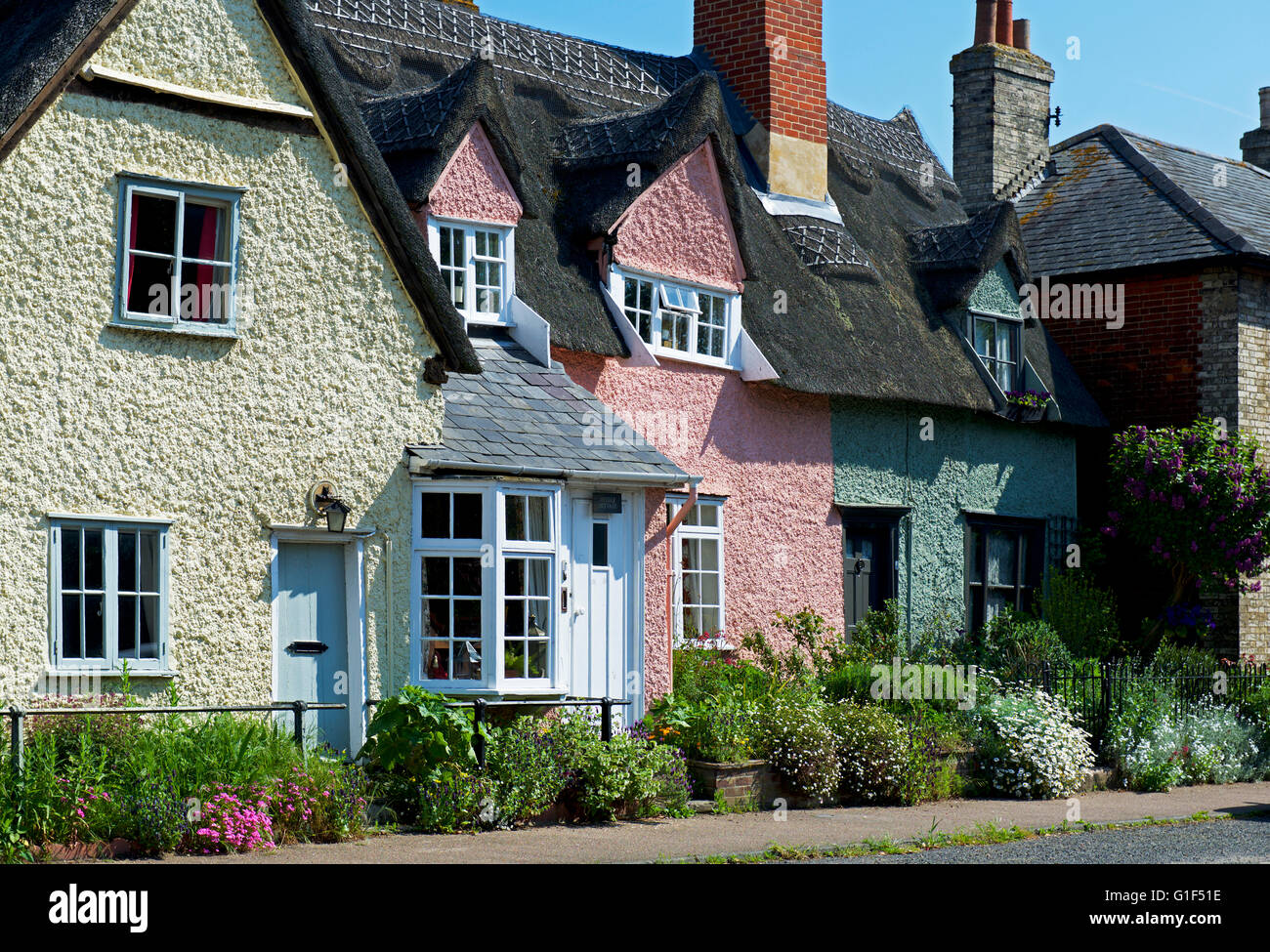 Cottages in the village of Cavendish, Suffolk, England UK - Stock Image