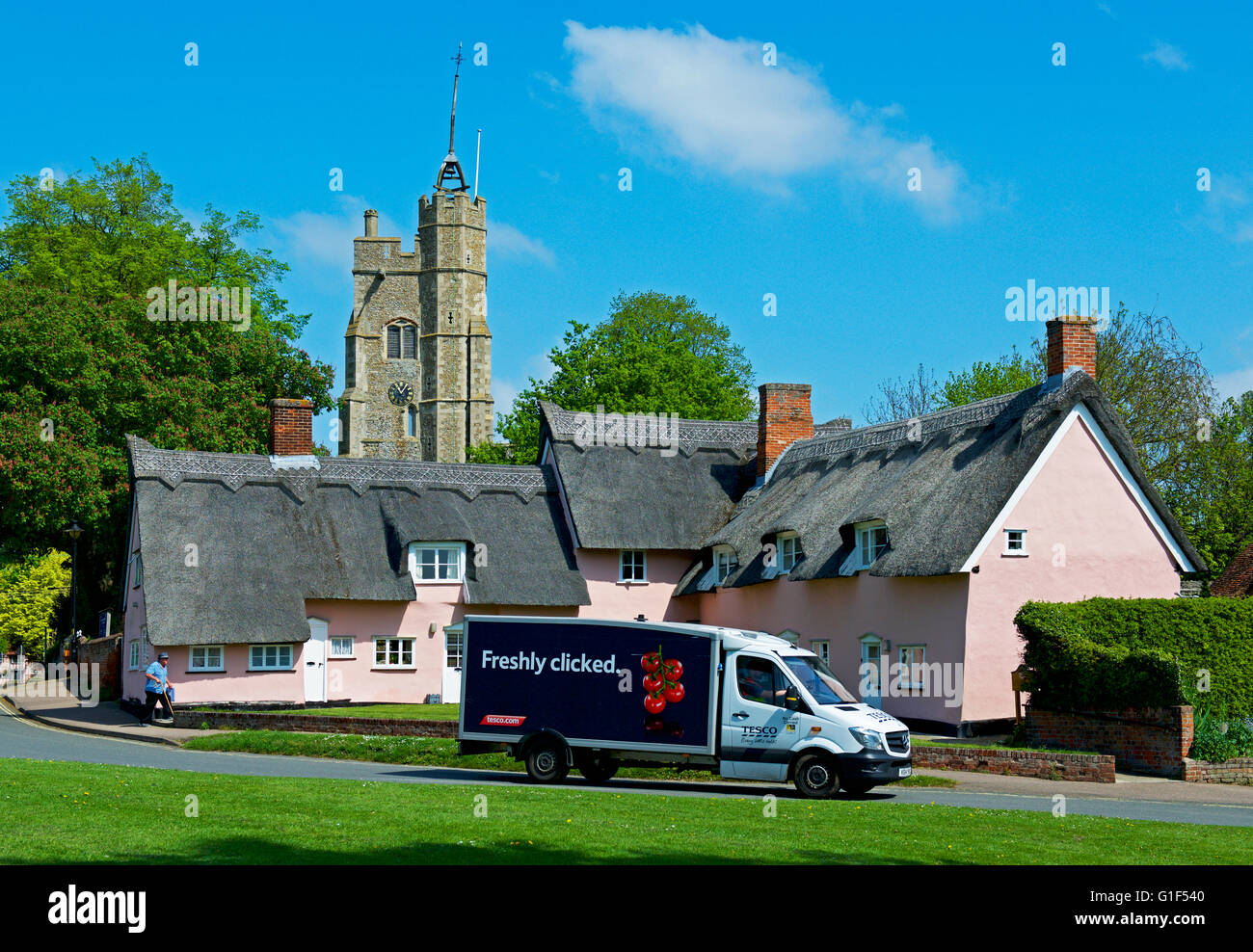 Tesco delivery van in the village of Cavendish, Suffolk, England UK - Stock Image