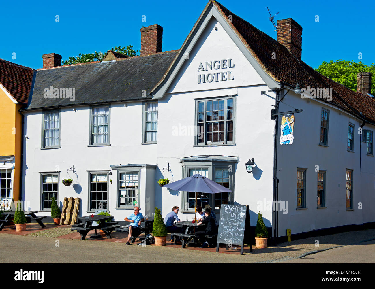 The Angel Hotel in the village of Lavenham, Suffolk, England UK Stock Photo