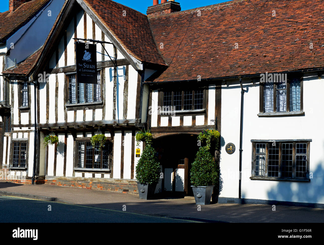 The Swan Hotel and Spa in the village of Lavenham, Suffolk, England UK - Stock Image
