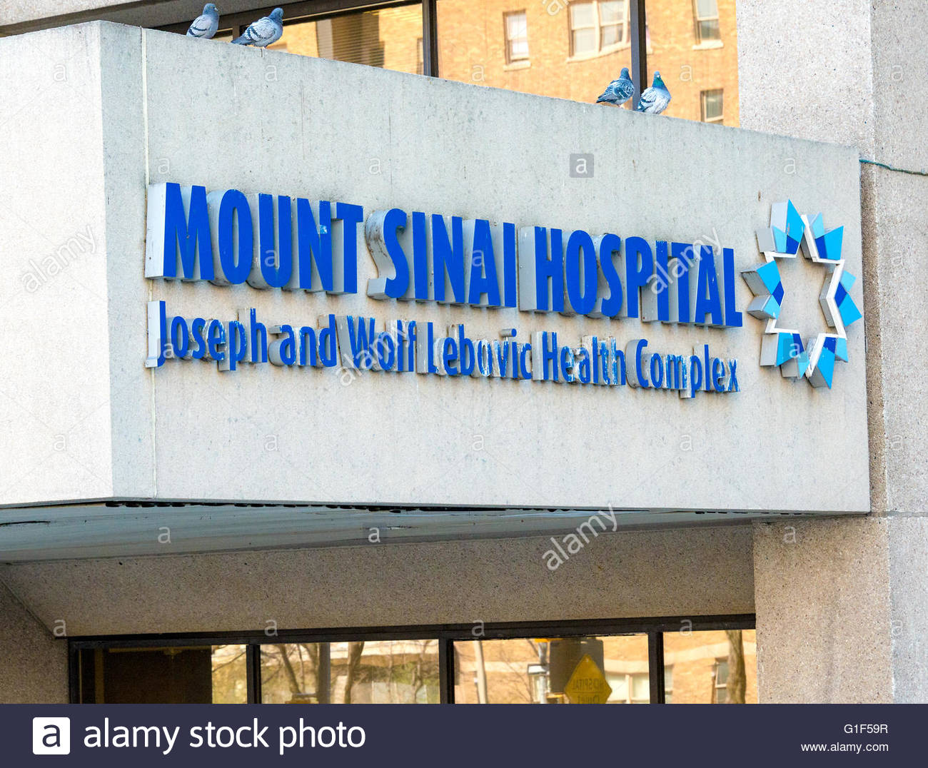 Mount Sinai Hospital Sign. Joseph and Wolf Lebovic Health Complex. Mount Sinai Hospital (MSH) is an independently - Stock Image