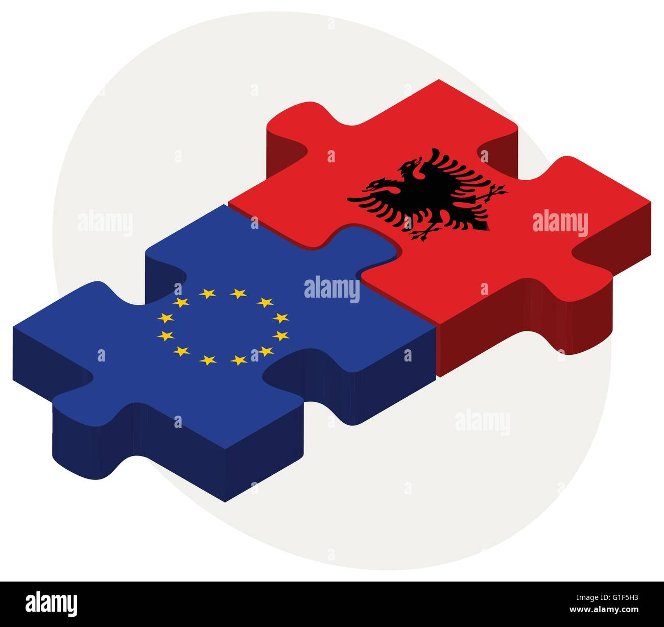 Vector Image - European Union and Albania Flags in puzzle  isolated on white background - Stock Image