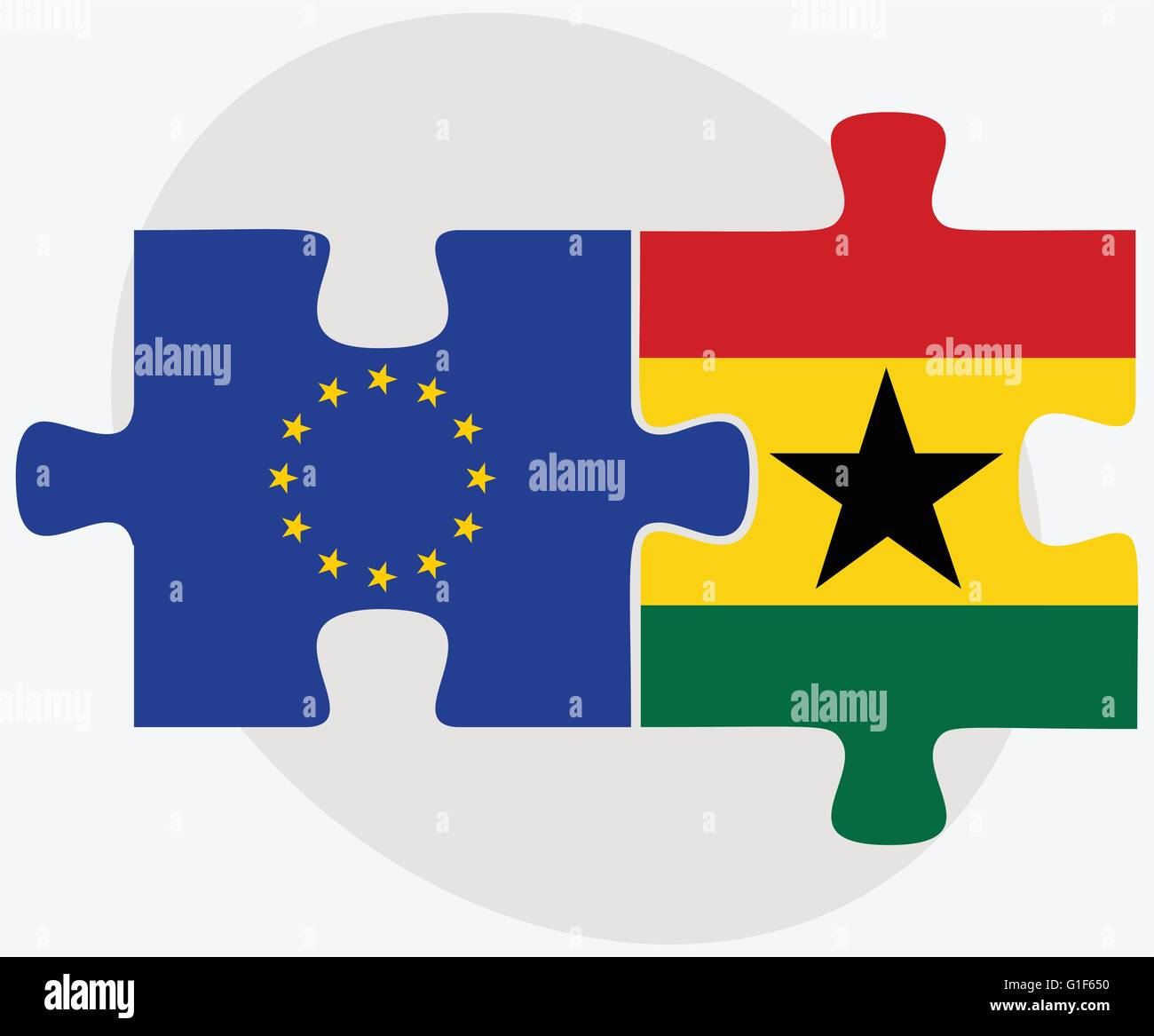 Vector Image - European Union and Ghana Flags in puzzle isolated on white background - Stock Vector