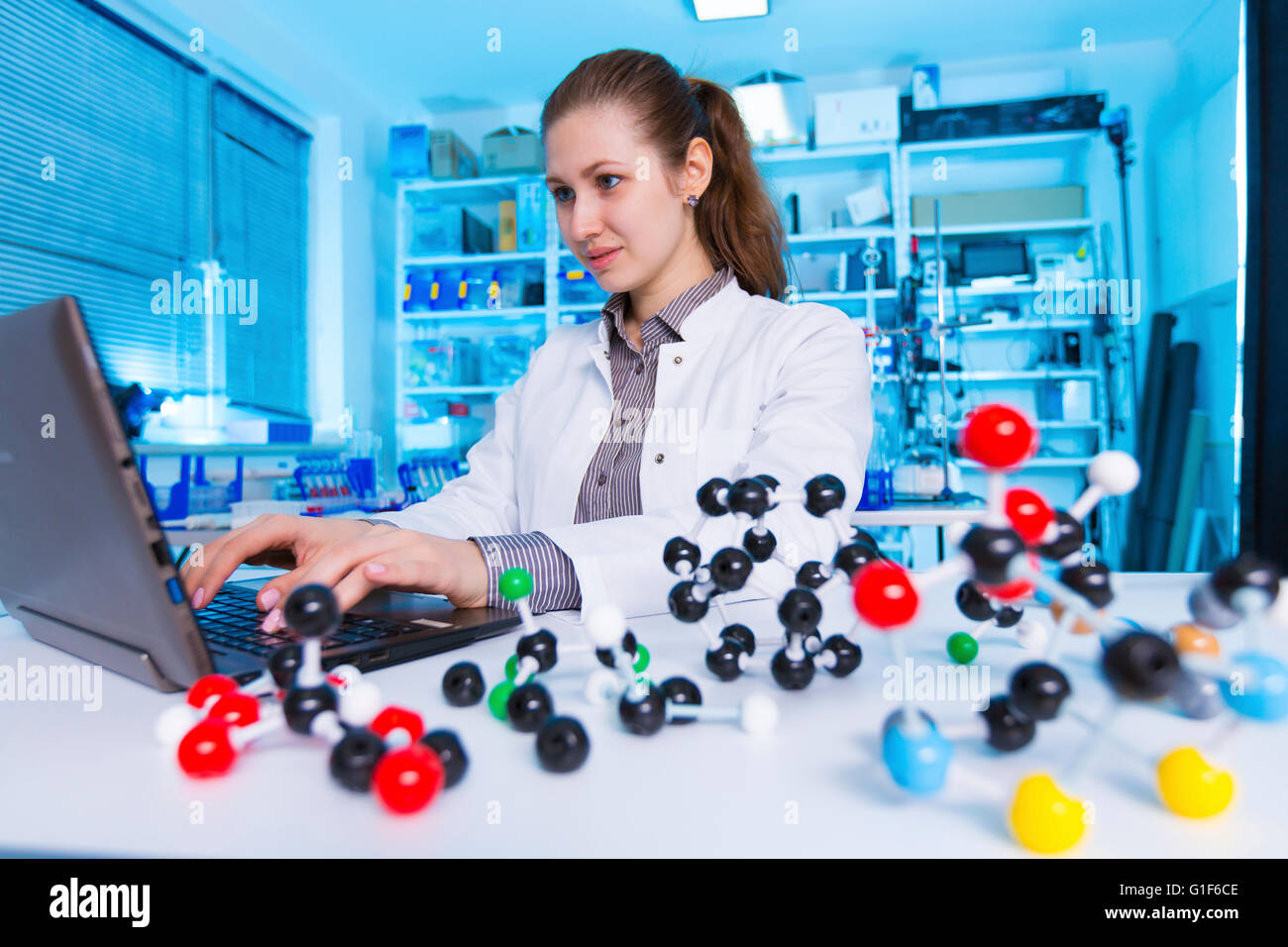 MODEL RELEASED. Female chemist using laptop in the laboratory. - Stock Image
