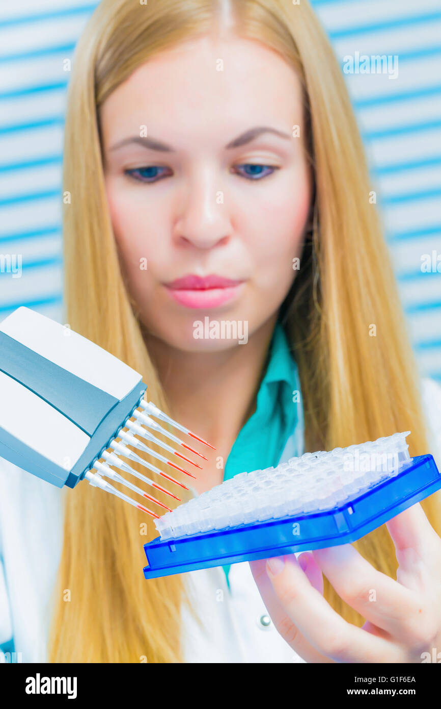 MODEL RELEASED. Laboratory assistant holding micro pipette. - Stock Image