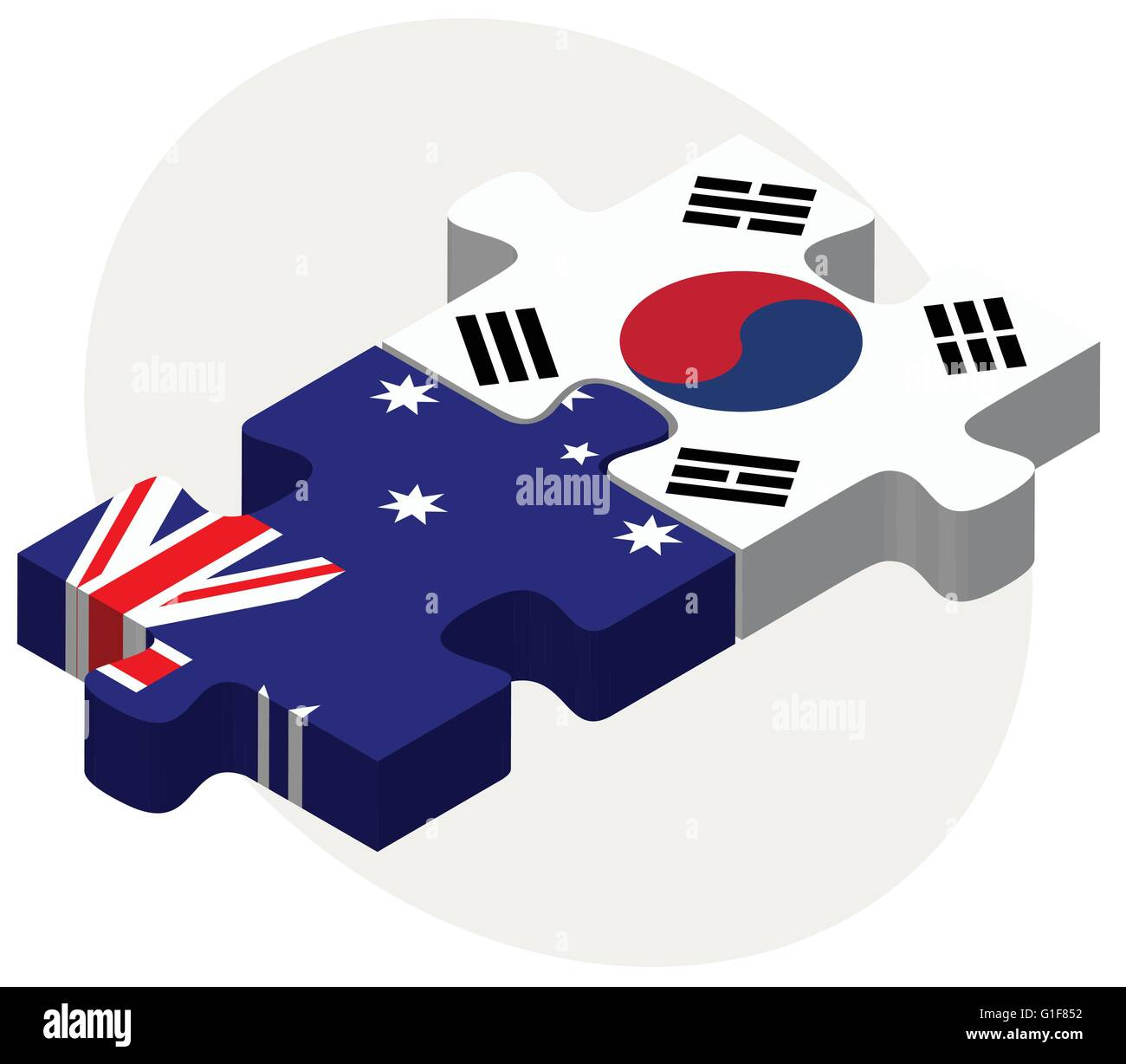 Vector Image - Australia and South Korea Flags in puzzle isolated on white background - Stock Image