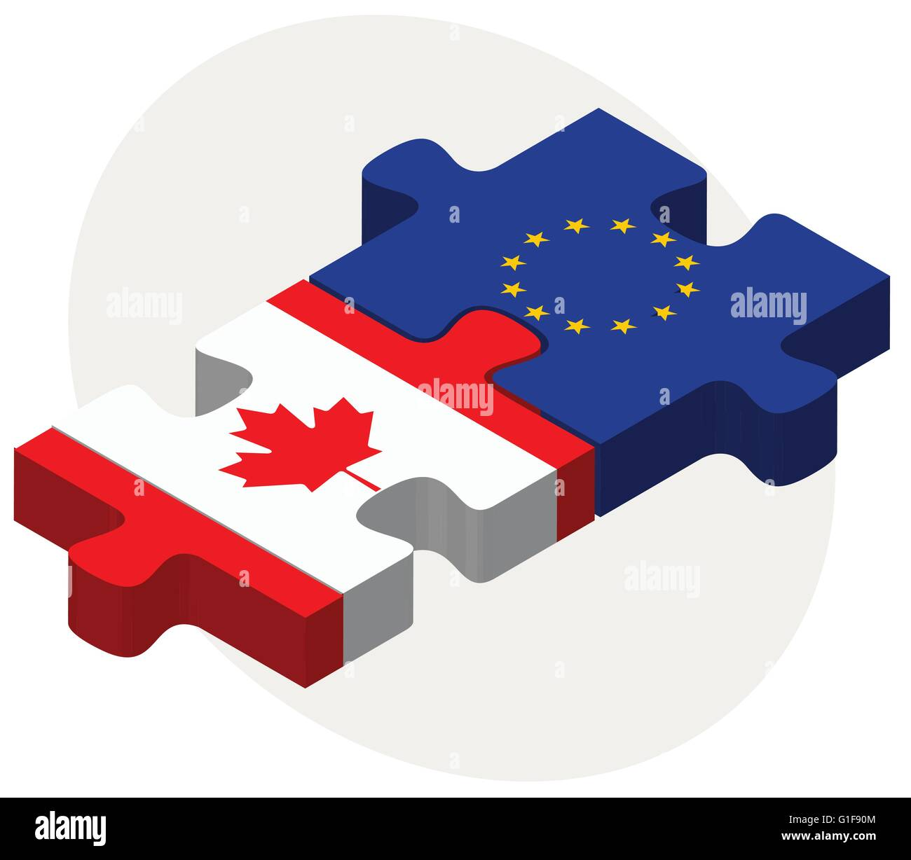 Vector Image - Canada and European Union Flags in puzzle isolated on white background - Stock Image