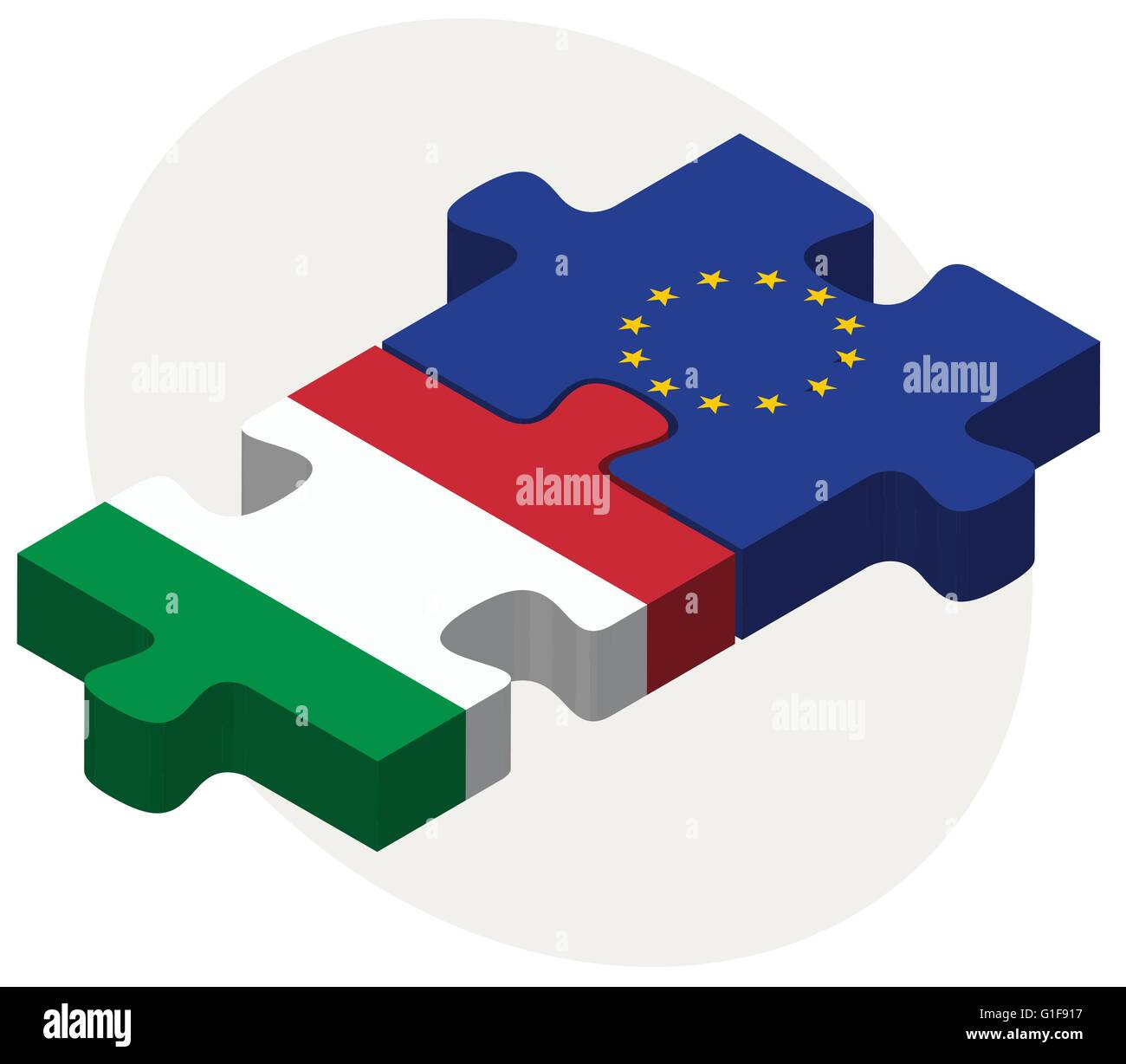 Vector Image - Italy and European Union Flags in puzzle isolated on white background - Stock Image