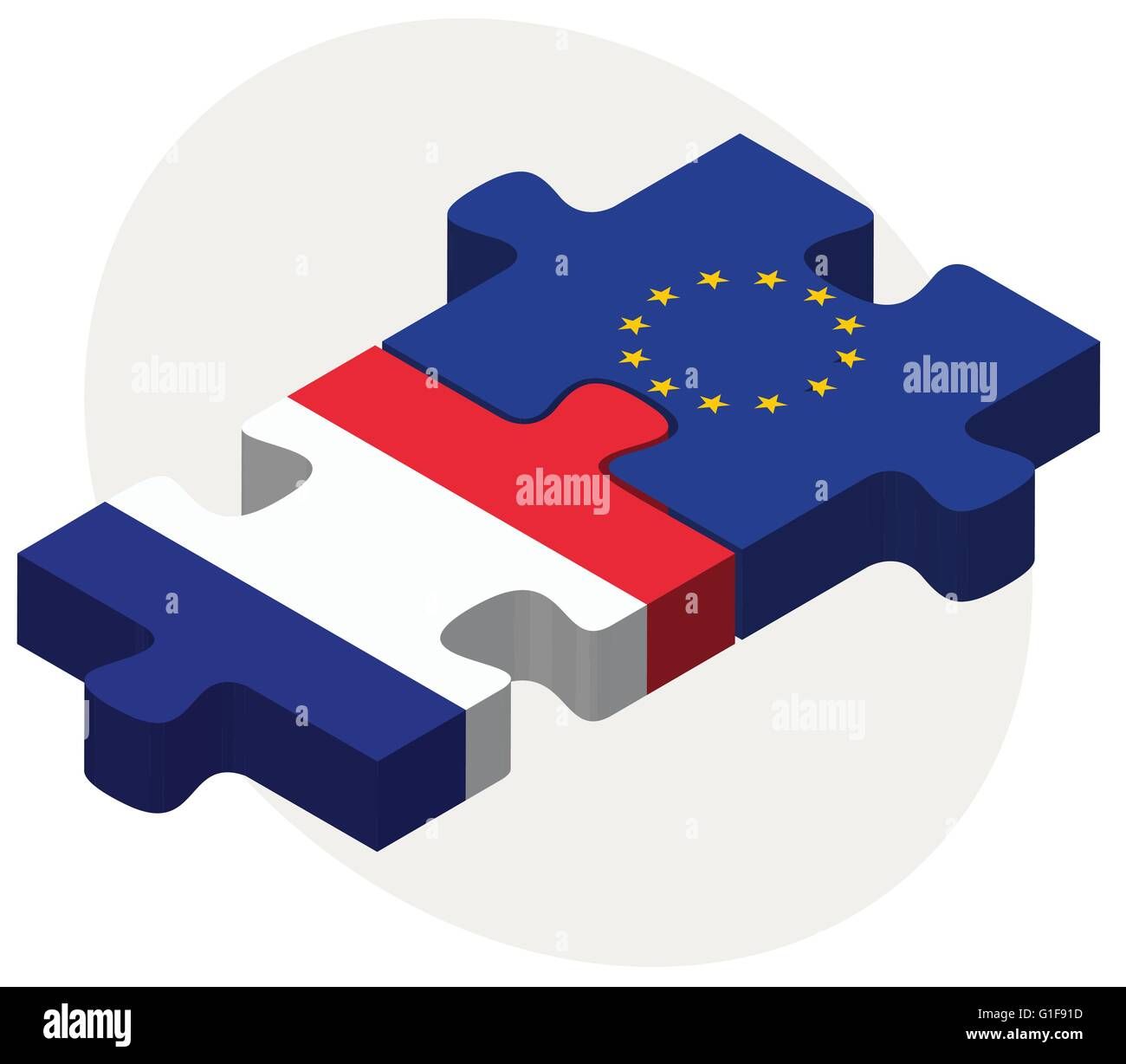 Vector Image - France and European Union Flags in puzzle isolated on white background - Stock Image