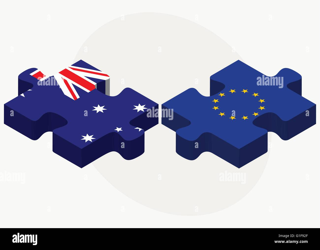 Vector Image - Australia and European Union Flags in puzzle isolated on white background - Stock Image