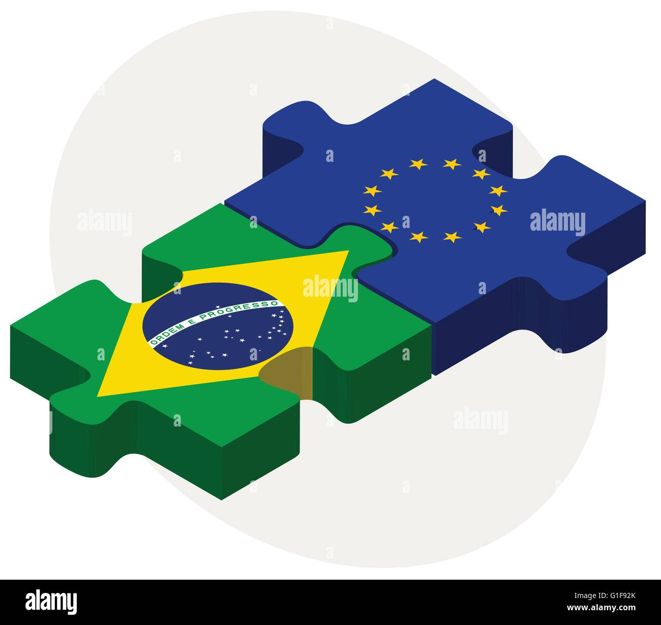 Vector Image - Brazil and European Union Flags in puzzle isolated on white background - Stock Image