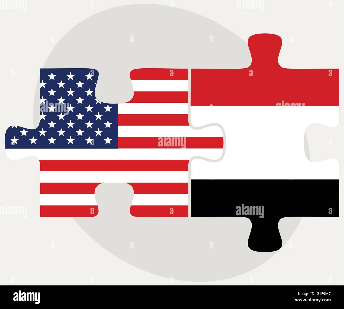 Vector Image - USA and Yemen Flags in puzzle  isolated on white background Stock Vector