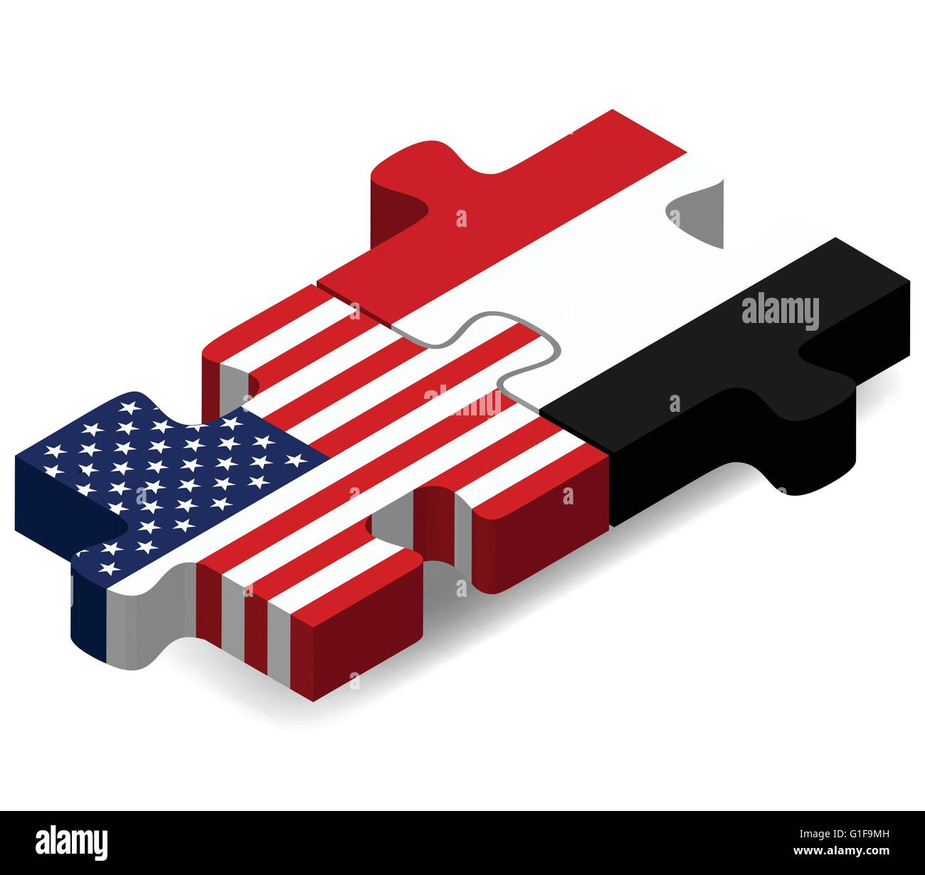 Vector Image - USA and Yemen Flags in puzzle  isolated on white background - Stock Vector
