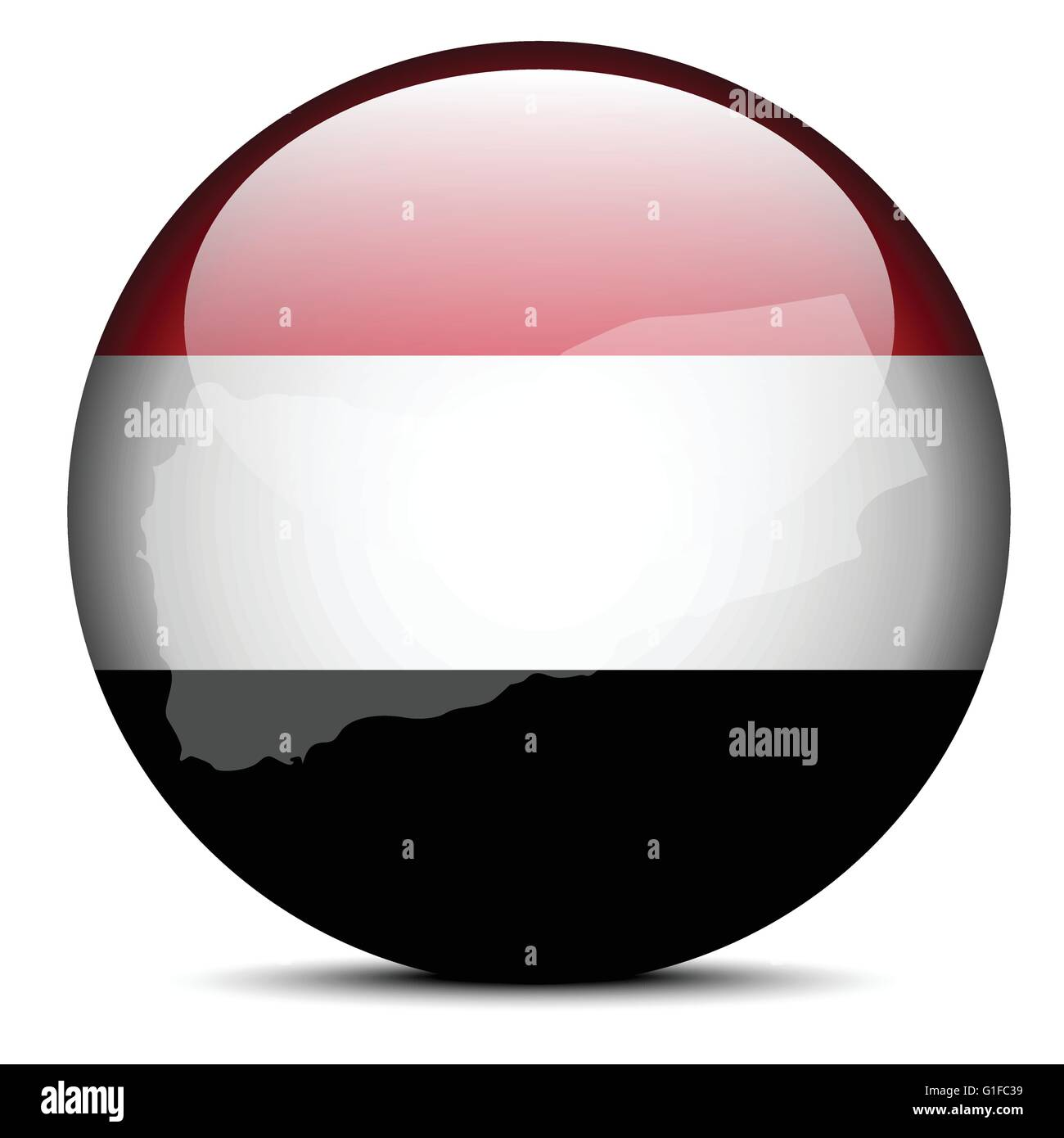 Vector Image -  Map on flag button of Republic of Yemen - Stock Vector