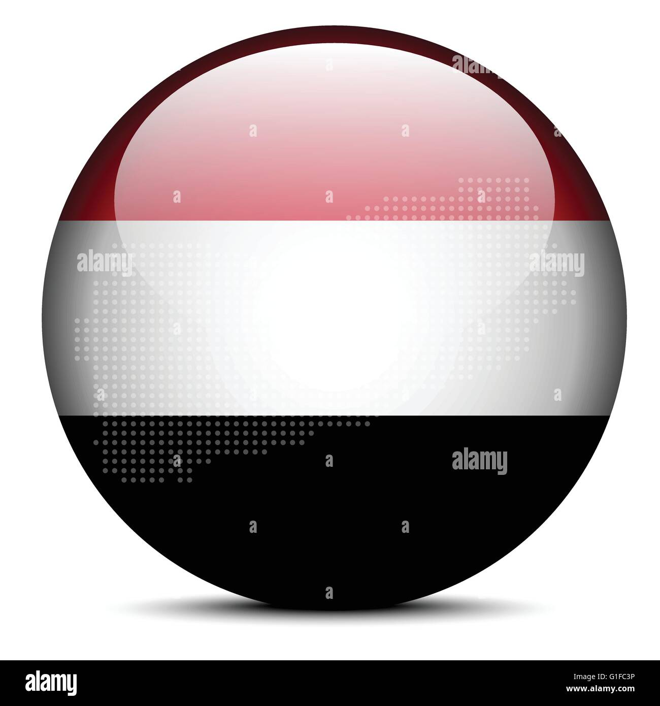 Vector Image -  Map with Dot Pattern on flag button of Republic of Yemen Stock Vector