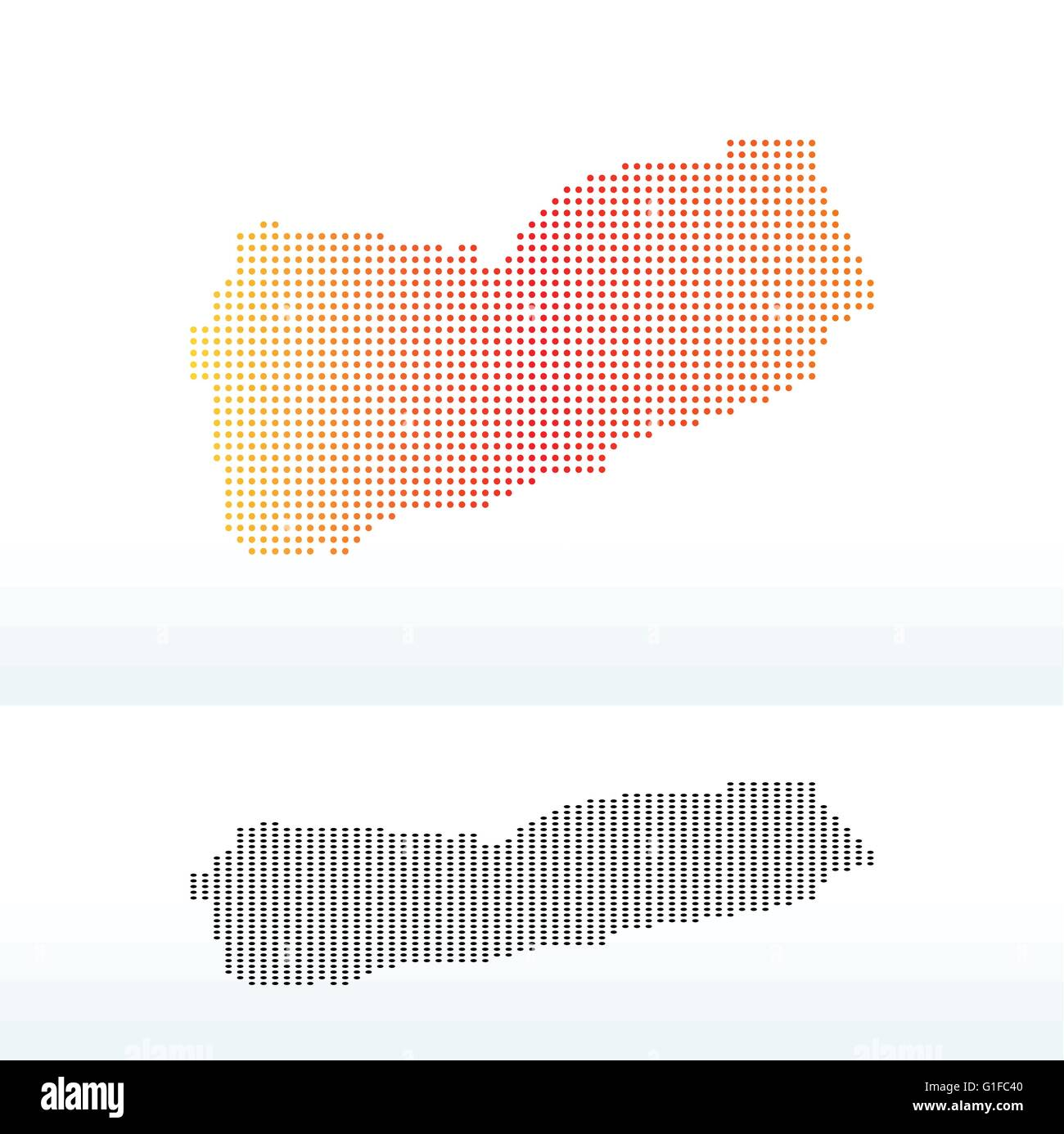 Vector Image -  Map of Republic of Yemen with Dot Pattern Stock Vector