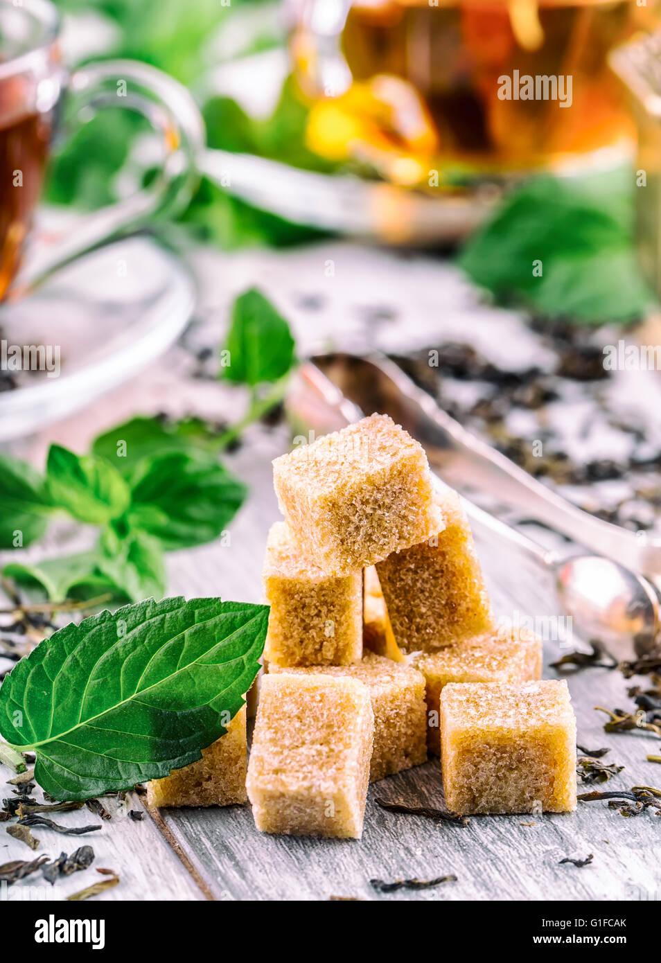Tea. Mint Tea. Herbal tea. Mint leaf. Mint leaves. Tea in a glass cup, mint leaves, dried tea, sliced lime. herbs Stock Photo