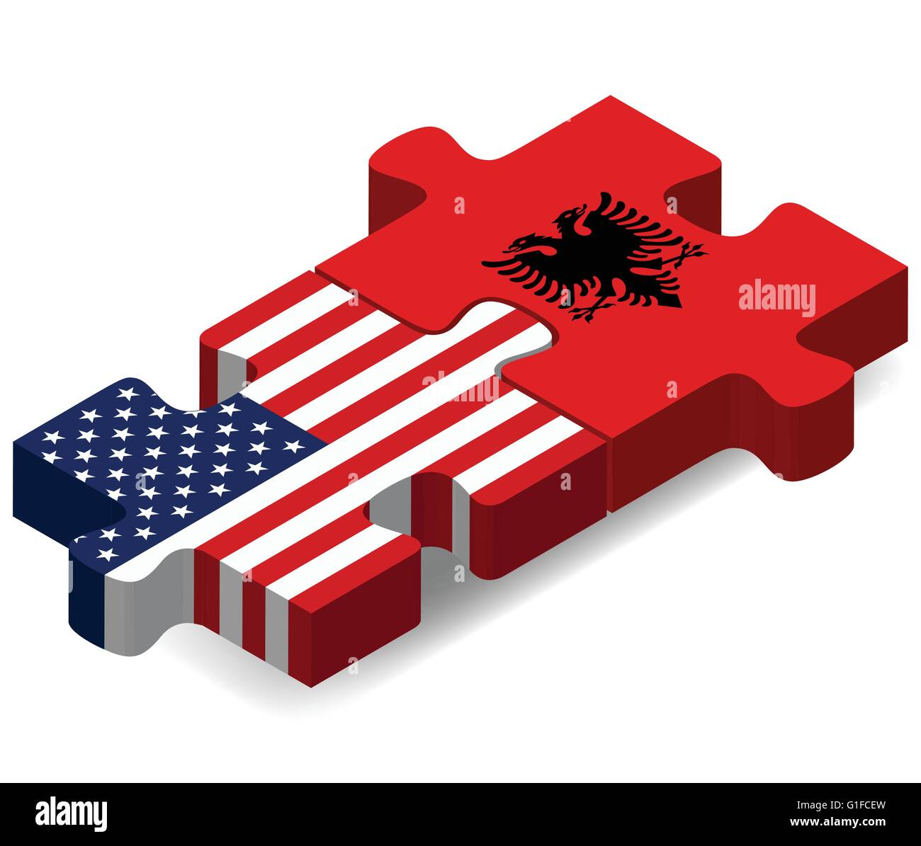Vector Image - USA and Albania Flags in puzzle  isolated on white background - Stock Image