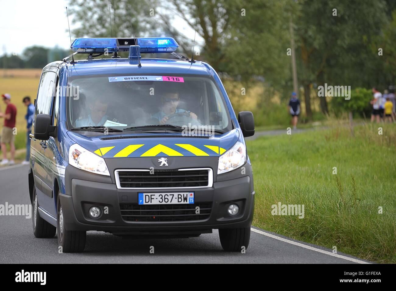 Peugeot van blue with blue lights on top security escort for peleton peugeot van blue with blue lights on top security escort for peleton of tour de france uk aloadofball Image collections