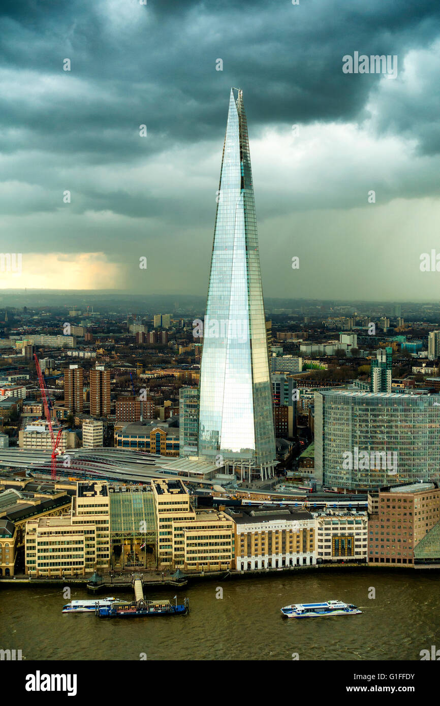 The Shard Rainstorm London River Thames View from Sky Garden 20 Fenchurch Street London - Stock Image