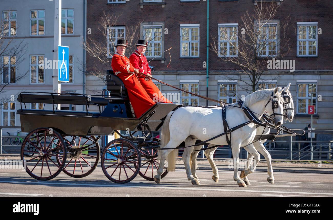 A Royal coach in the streets of Copenhagen, Denmark - Stock Image