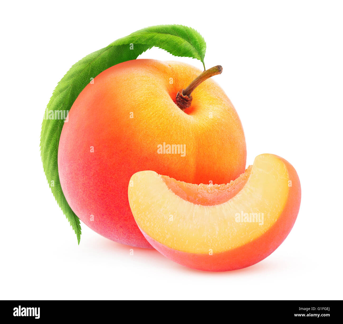 Isolated peach. Peach or apricot whole fruit and a slice isolated on white background with clipping path - Stock Image