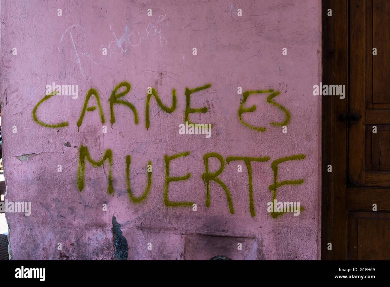 Meet is murder, Feria de Mataderos, Buenos Aires, Argentina - Stock Image