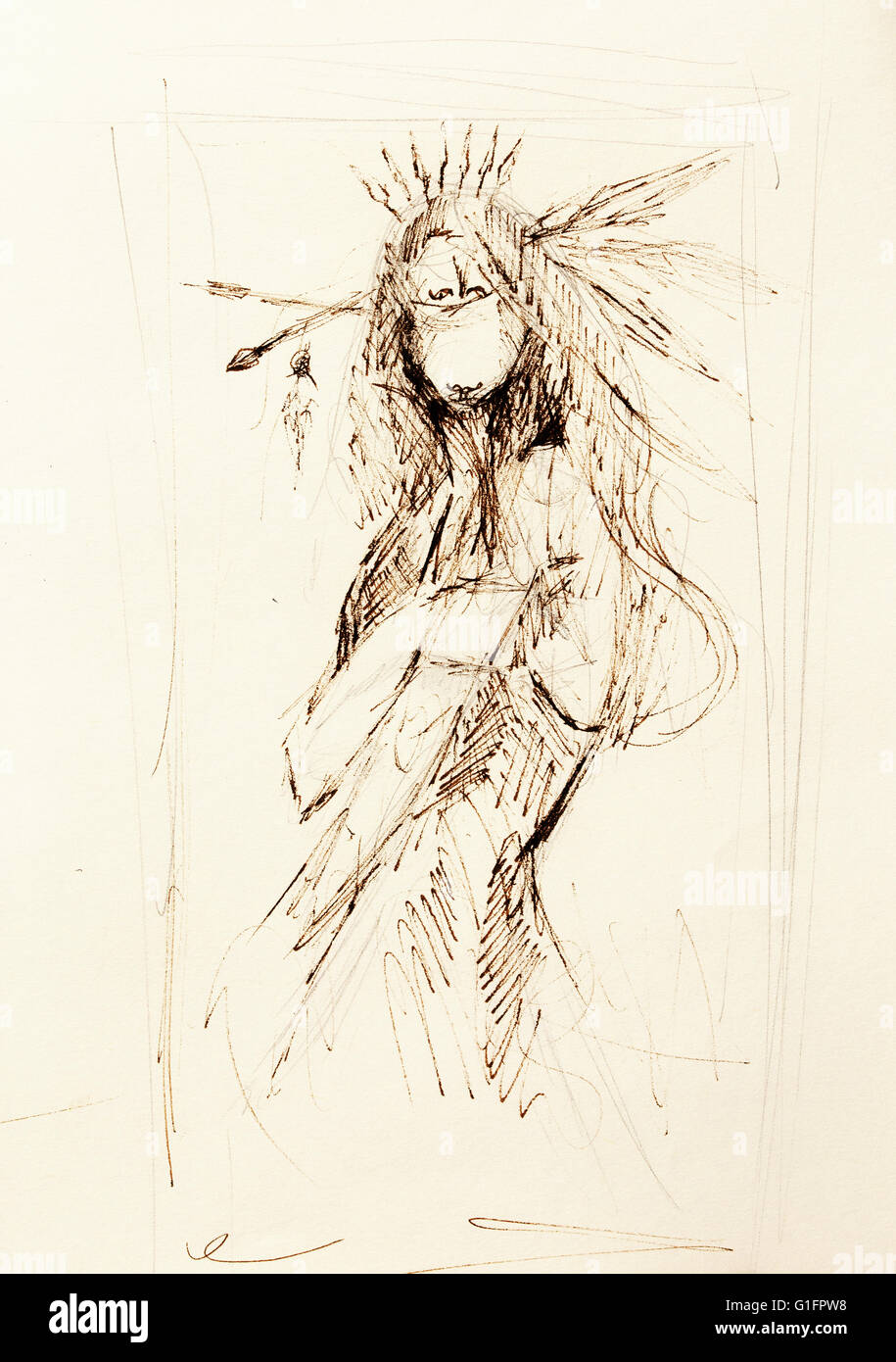 Pencil drawing on paper indian woman and feathers in hair stock