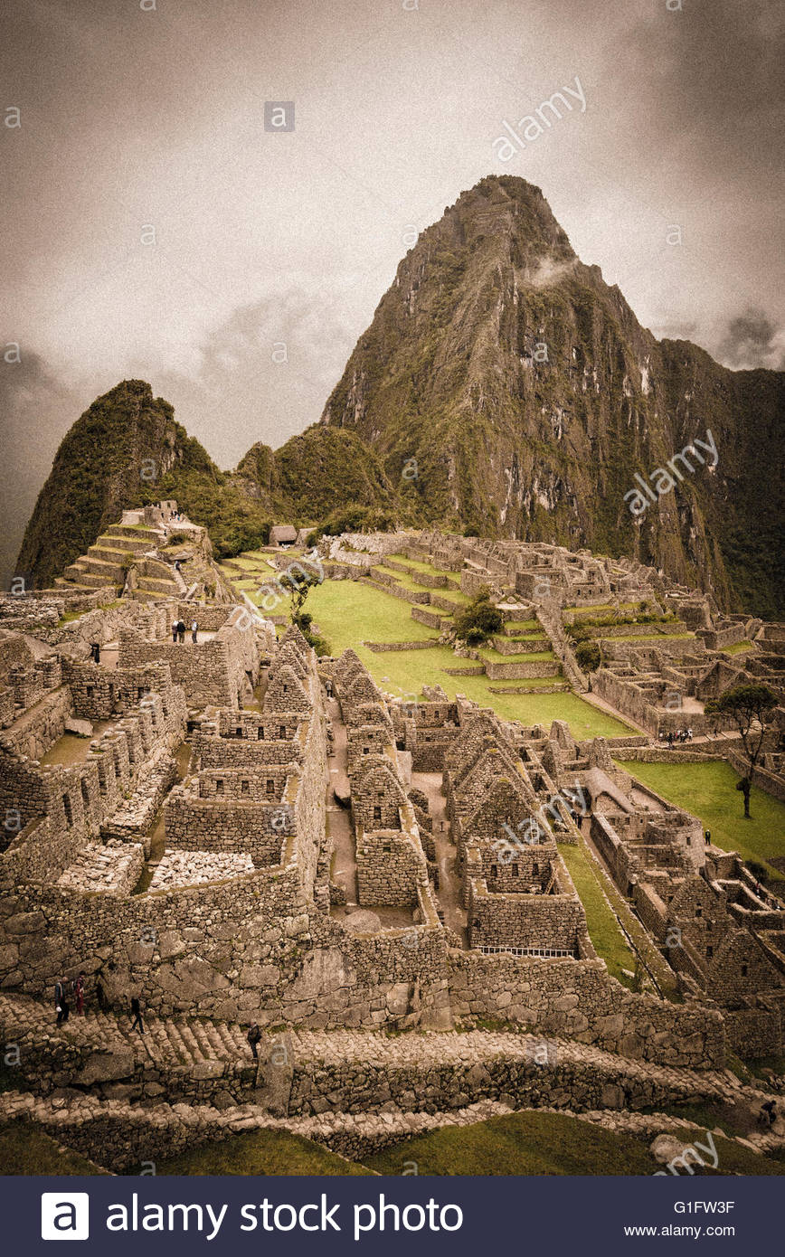 Inca ruins at Machu Picchu, Peru. - Stock Image