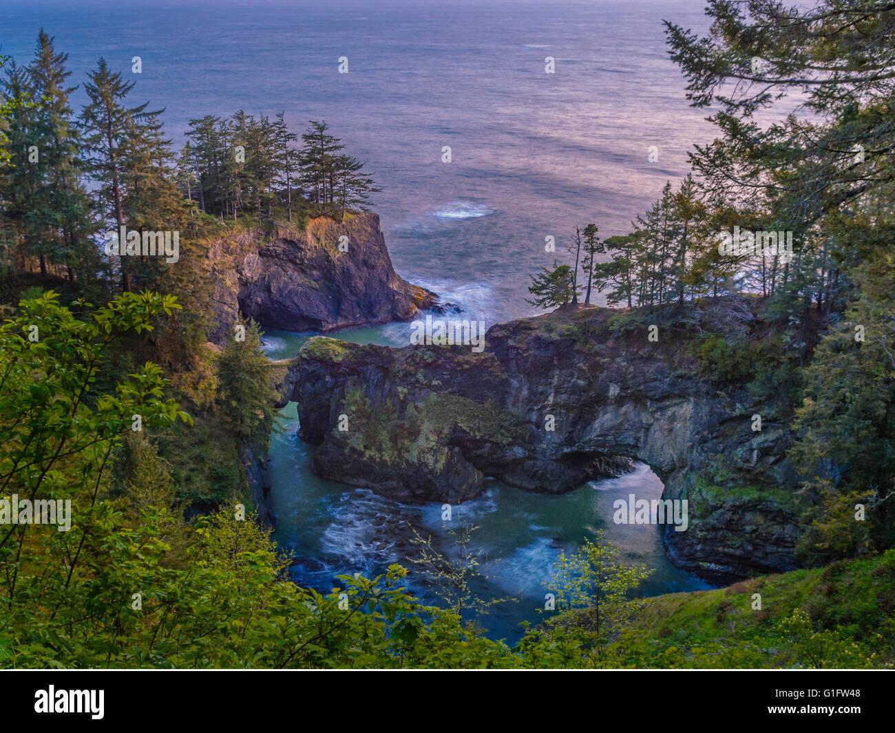 Natural Bridges Viewpoint, Samuel H. Boardman State Scenic Corridor, southern Oregon coast. Stock Photo