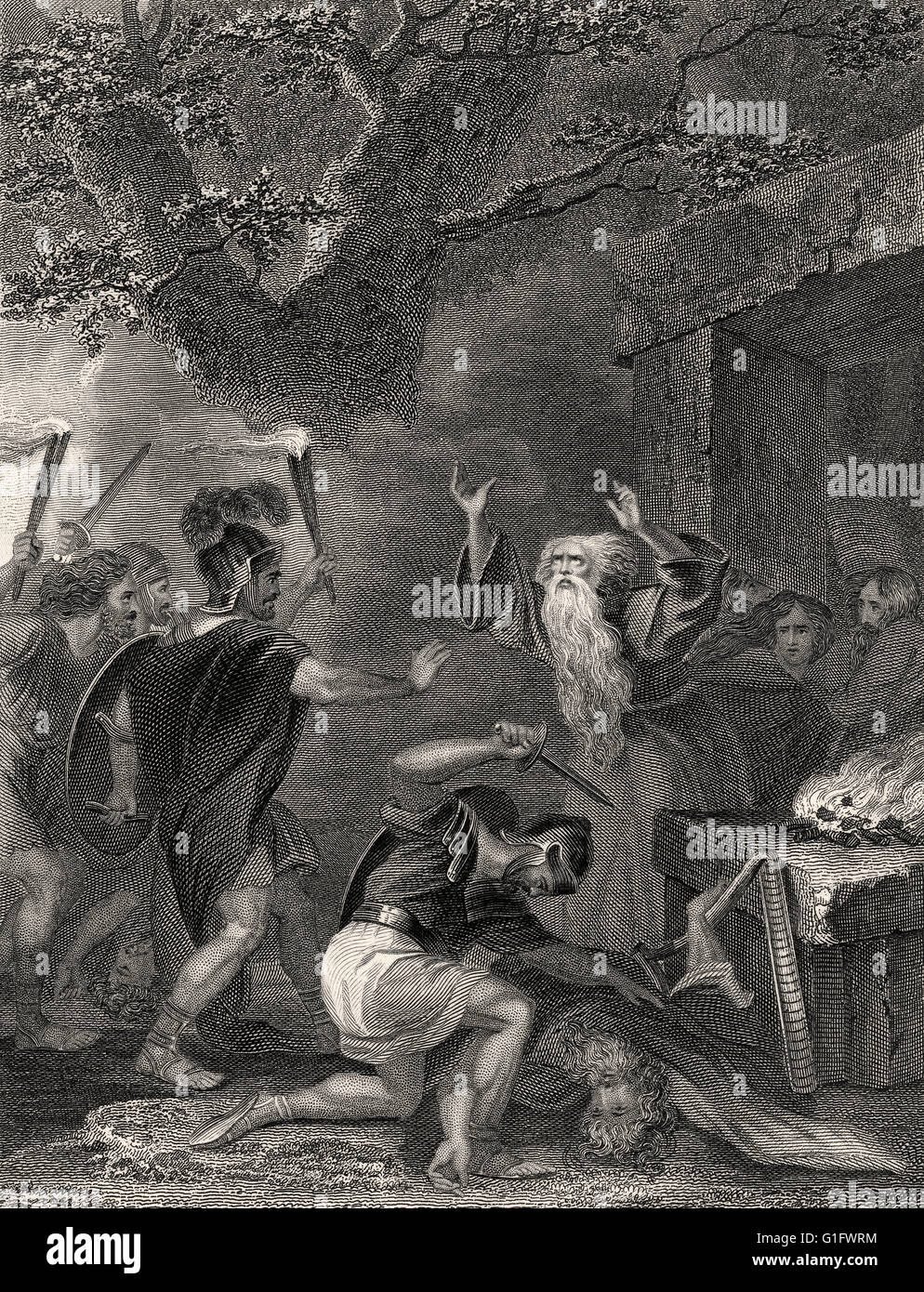 The Roman massacre of the Celtic Druids on the Isle of Anglesey in 61 AD - Stock Image