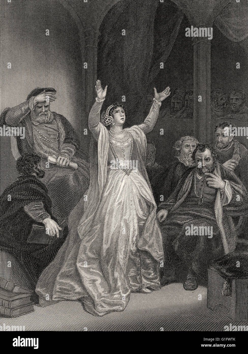 Condemnation of Anne Boleyn, 1501-1536, Queen of England from 1533 to 1536 as the second wife of King Henry VIII - Stock Image