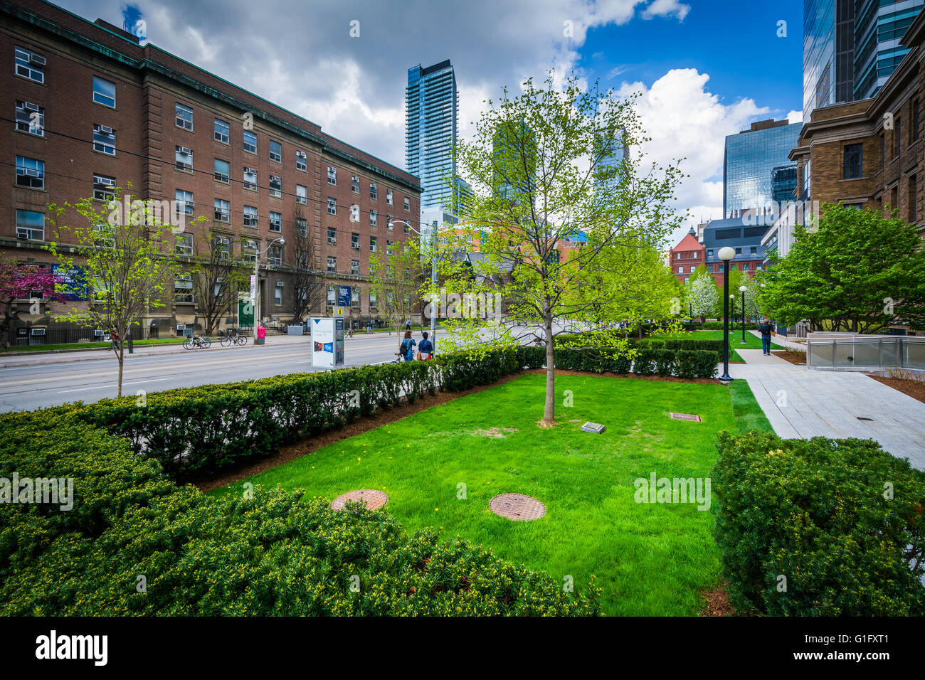 Gardens and buildings in the Discovery District, of Toronto, Ontario. - Stock Image