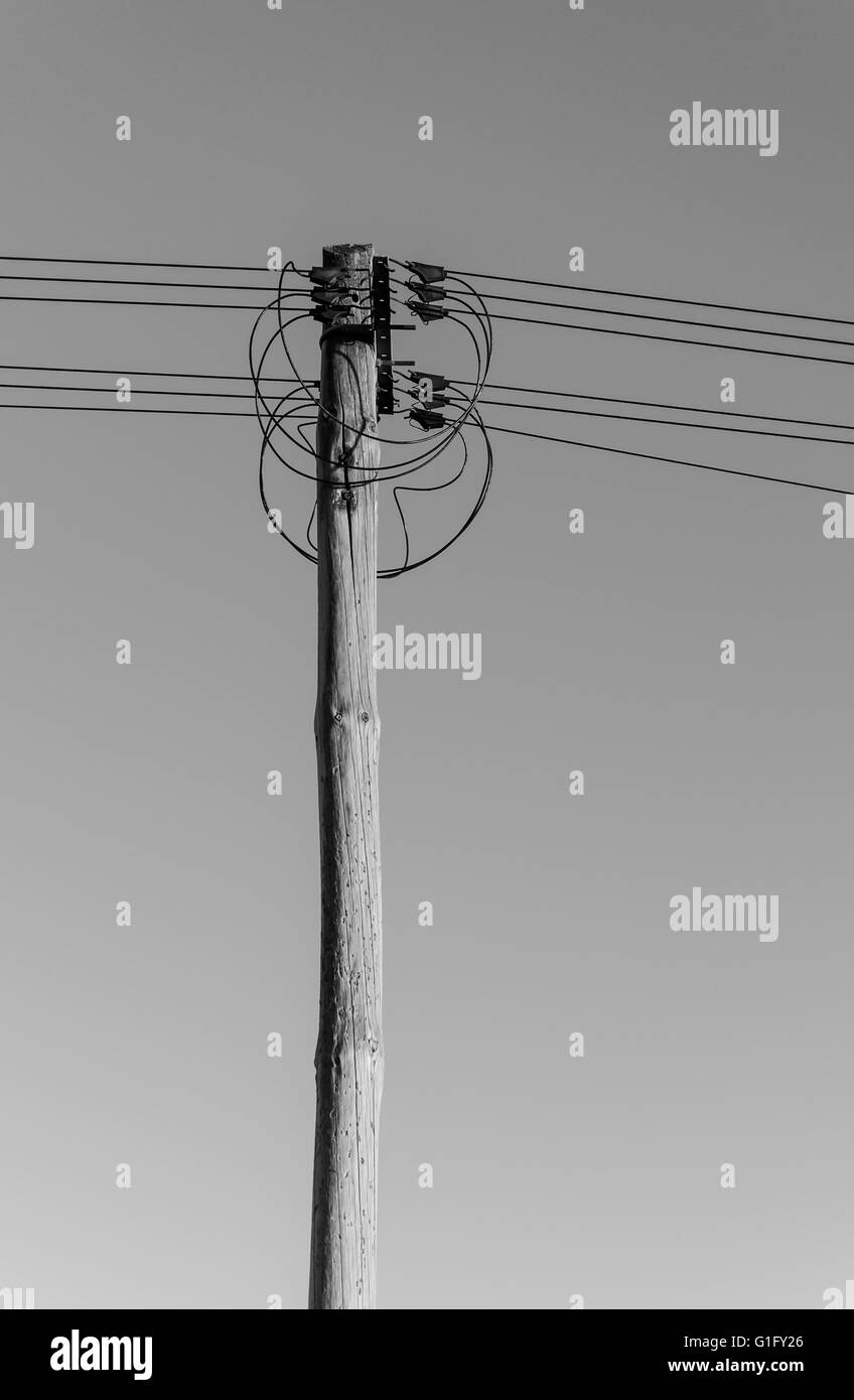 Telegraph Pole Black and White Stock Photos & Images - Alamy