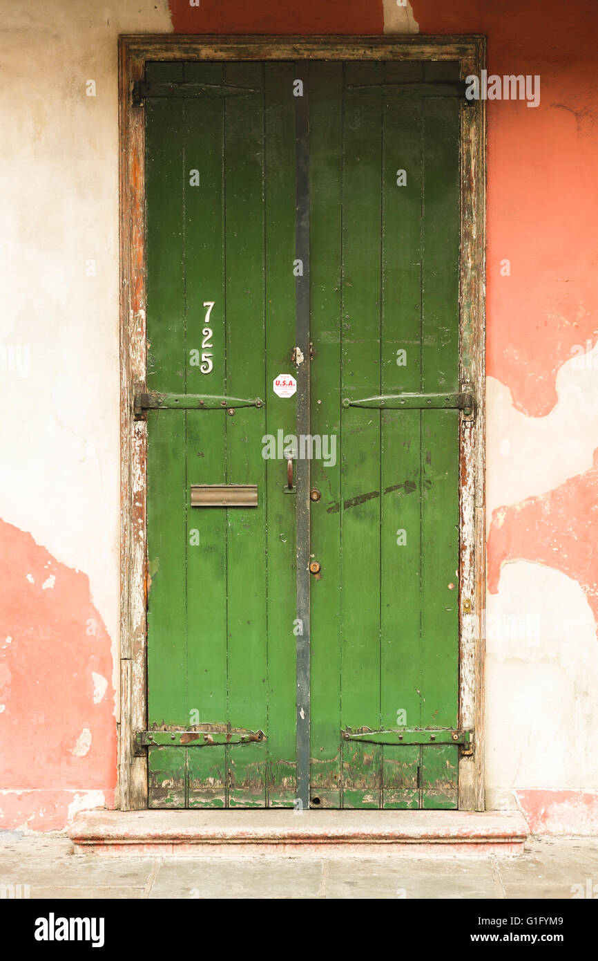 Old green doorway in French Quarter, New Orleans, - Stock Image