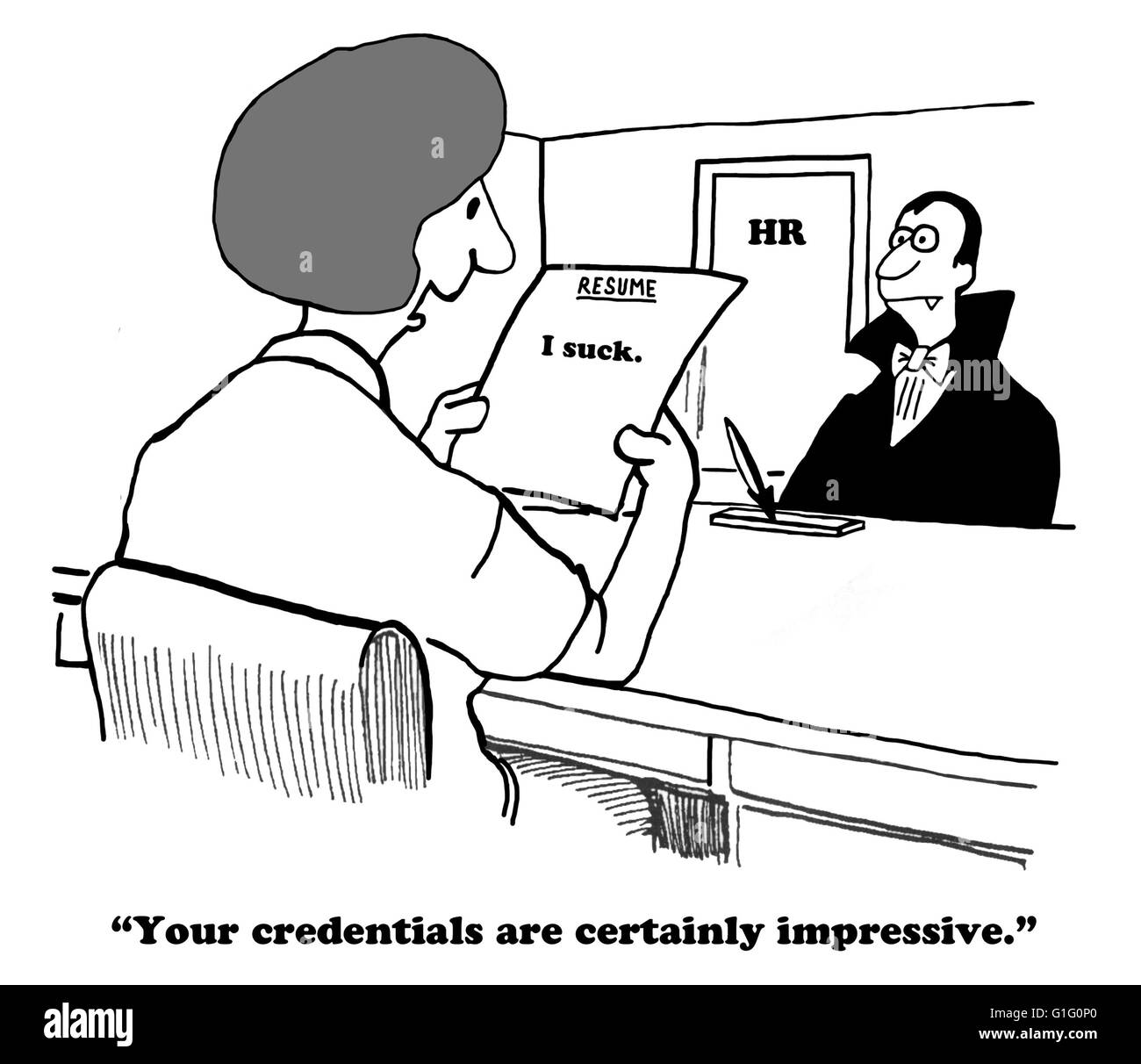 Business Cartoon About A Concise But Honest Resume Stock Photo