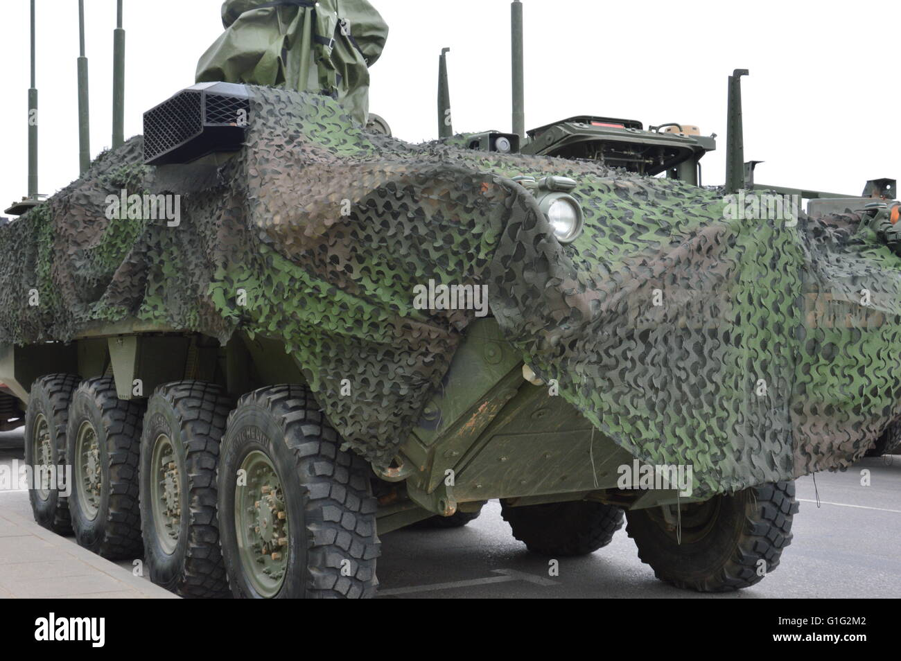 Military transport at exposition - Stock Image