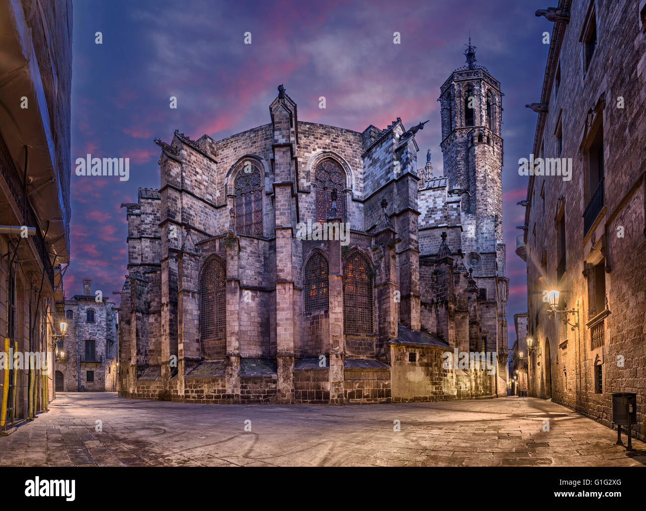 Barcelona Cathedral at night, Gothic Quarter (Barri Gotic) of the city, Catalonia, Spain - Stock Image