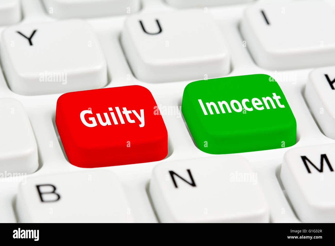 Guilty and Innocent buttons on a computer keyboard. - Stock Image