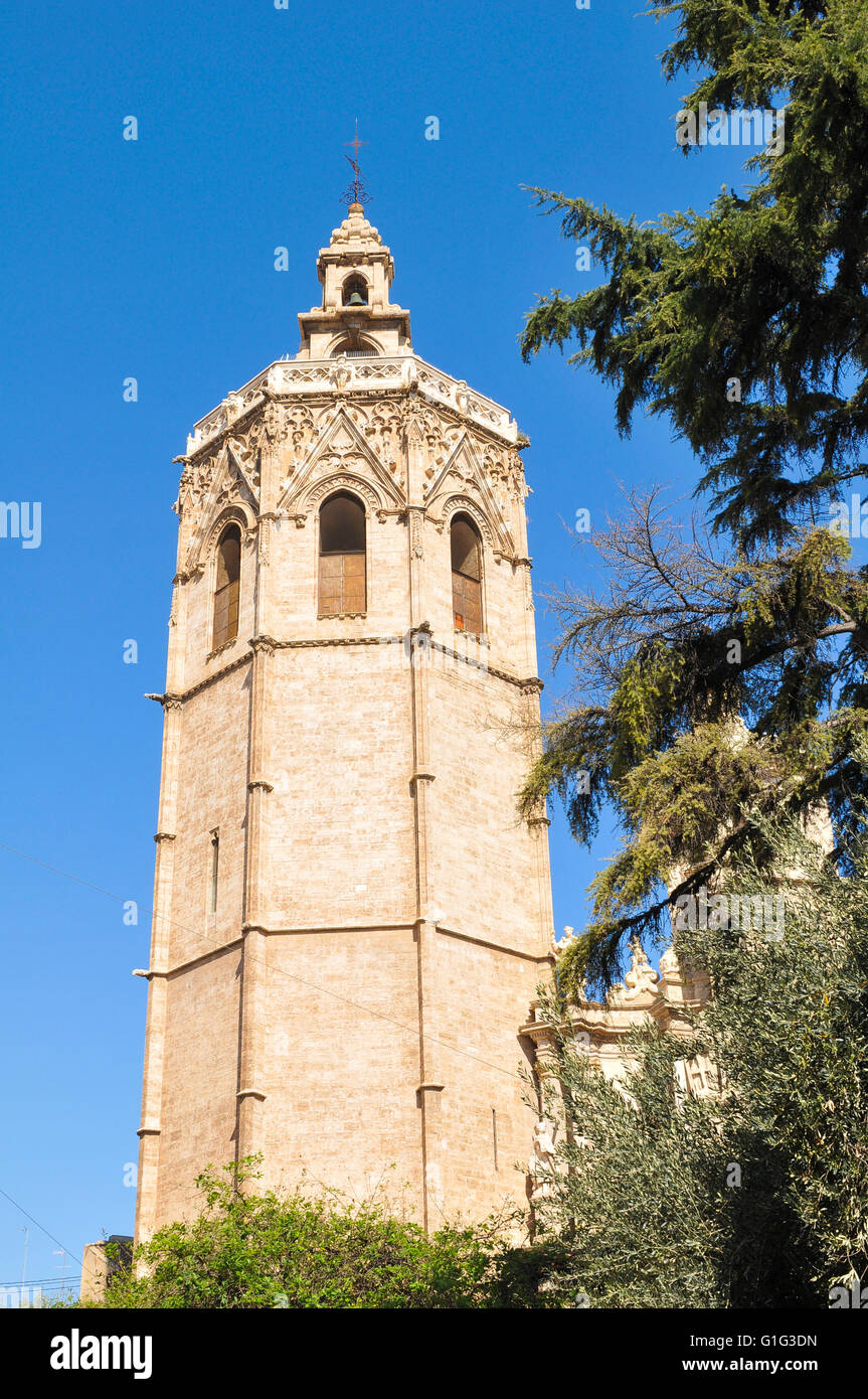 Architectural detail of the gothic bell tower El Miguelete of Saint Mary Cathedral in Valencia Stock Photo