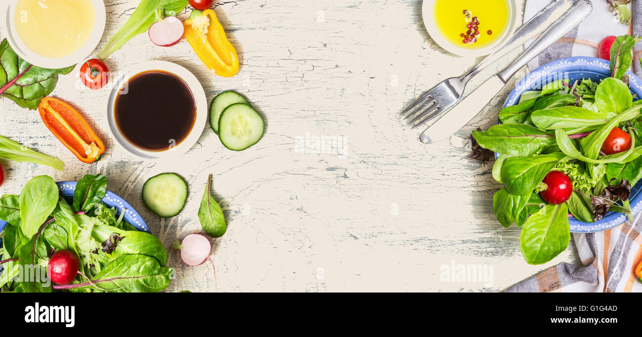 Tasty Salad Making With Vegetables And Dressing Ingredients On Light Rustic Background Top View Banner Healthy Lifestyle Or