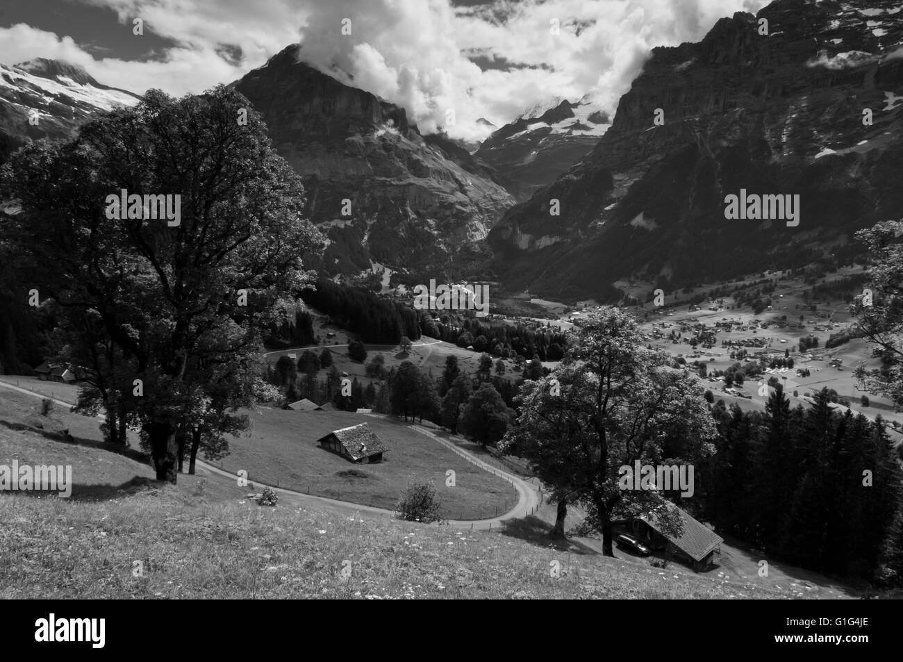 Summer in the Swiss mountains, Bernese Alps, Berner Oberland, Switzerland - Stock Image