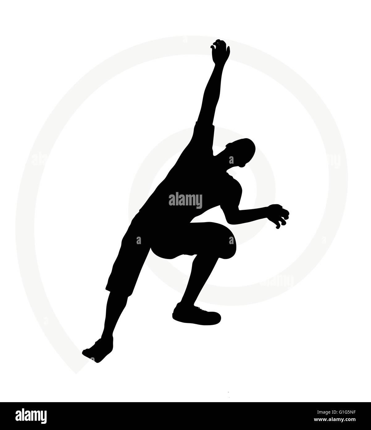 illustration of senior climber man silhouette isolated on  white background  - in climbing pose - Stock Vector