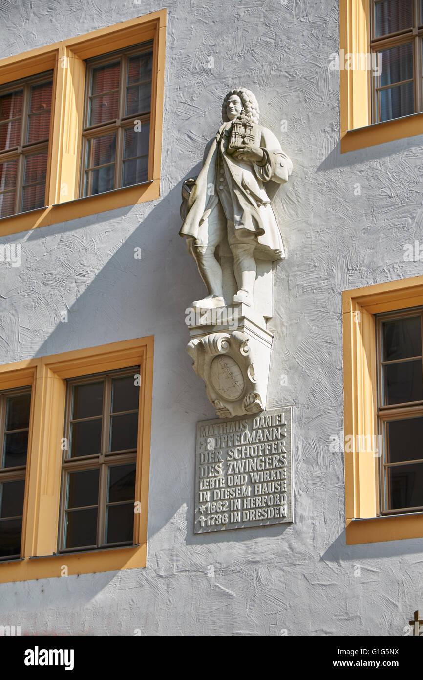 memorial to  Matthaus Daniel Poppelmann, founder of Dresdner Zwinger, Dresden, Deutschland Stock Photo