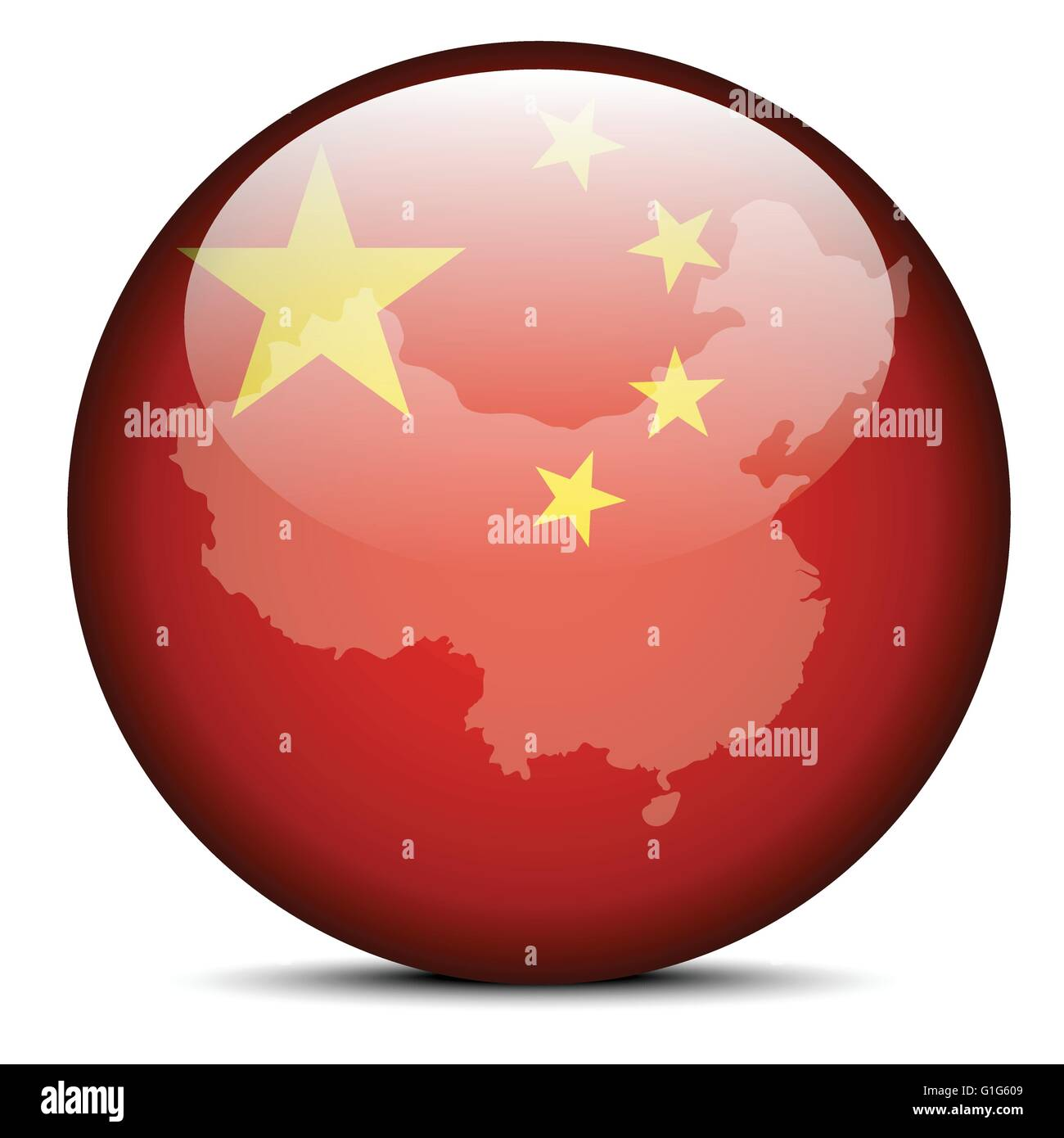 Vector Image - Map on flag button of People's Republic of China - Stock Image