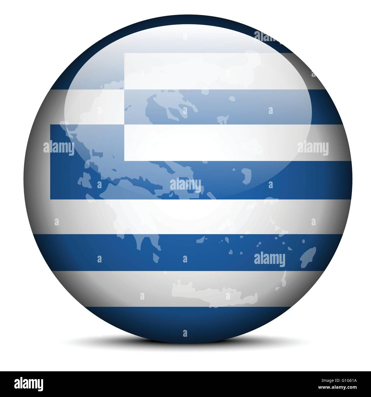 Vector Image - Map on flag button of Hellenic Republic, Greece - Stock Vector