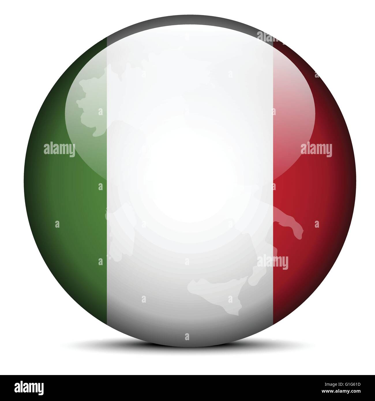 Map on flag button of Italian Republic, Italy - Stock Vector