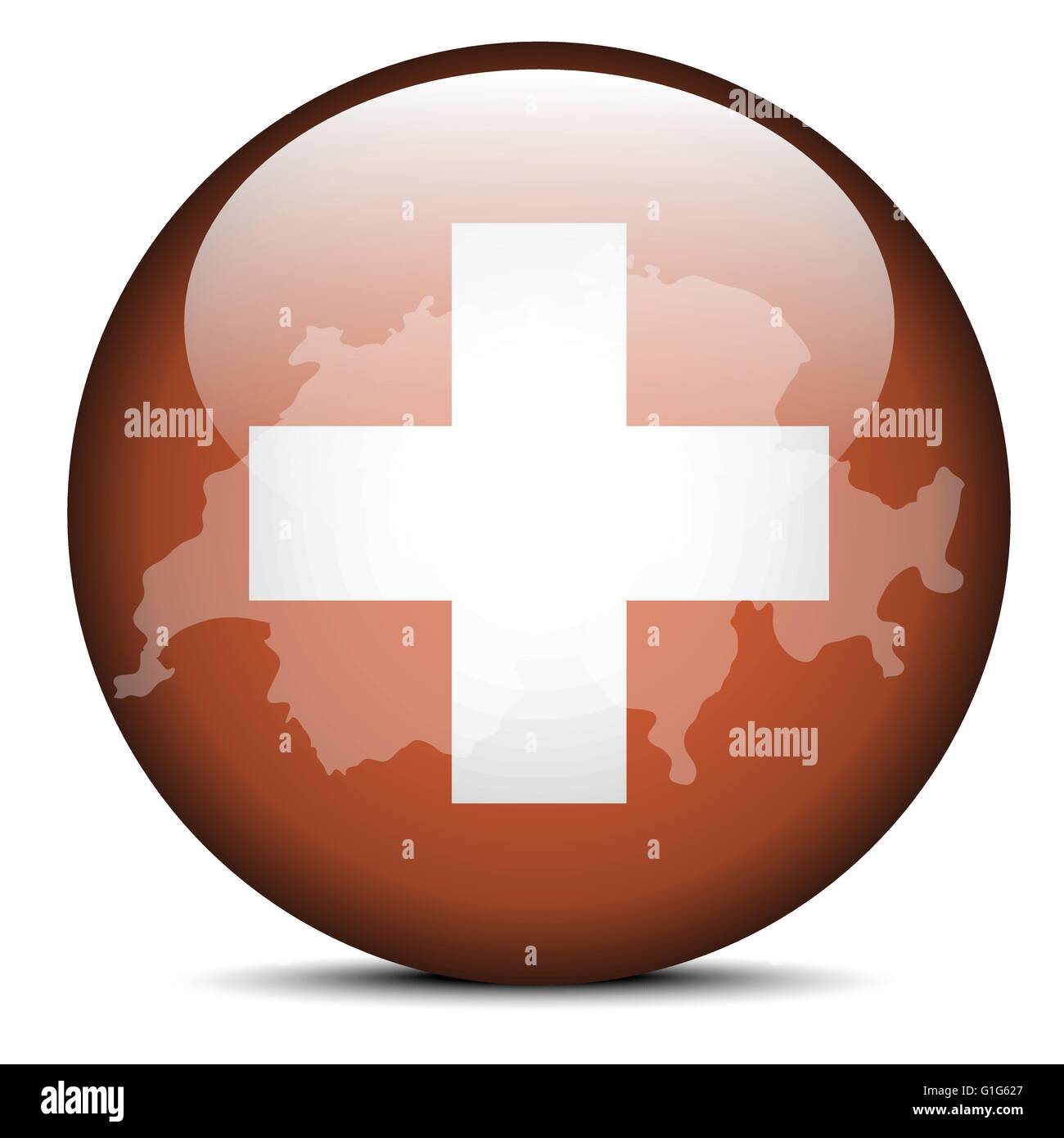 Vector Image - Map on flag button of Switzerland, Swiss Confederation - Stock Image